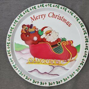 "Vintage Christmas Eve 13"" Round Metal Serving Tray"